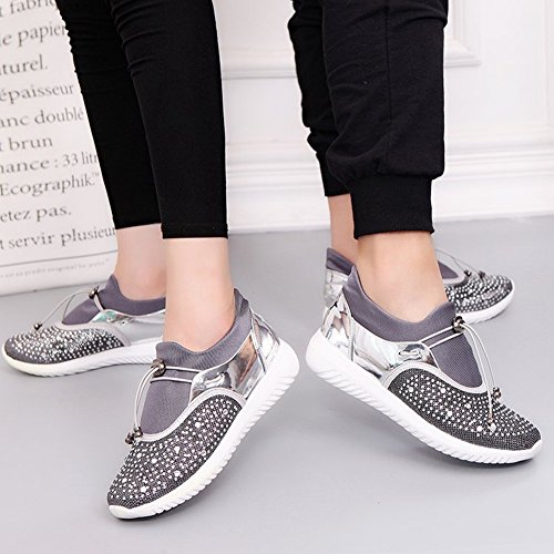 Ladies Casual silver All Shoes Lace Shoes Shoes EUR36 Flat Sports Match 5 Pearl Couples F1waxqw