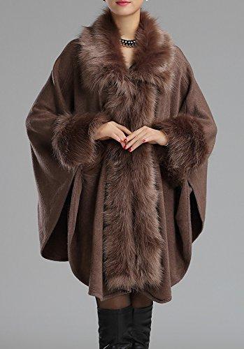 Tricot Manteau chaud Faux Kaki Helan Cap Fashion femmes Cape WRnTgt