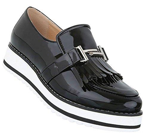 Damen Dandy Halbschuhe | Brogues Profilsohle | Cap Toes Schuhe Schnürer | Metallic Slipper | Plateauschuhe zweifarbig | Damenschuhe Lack | Wedges Plateau Schuhe | Schuhcity24 Schwarz
