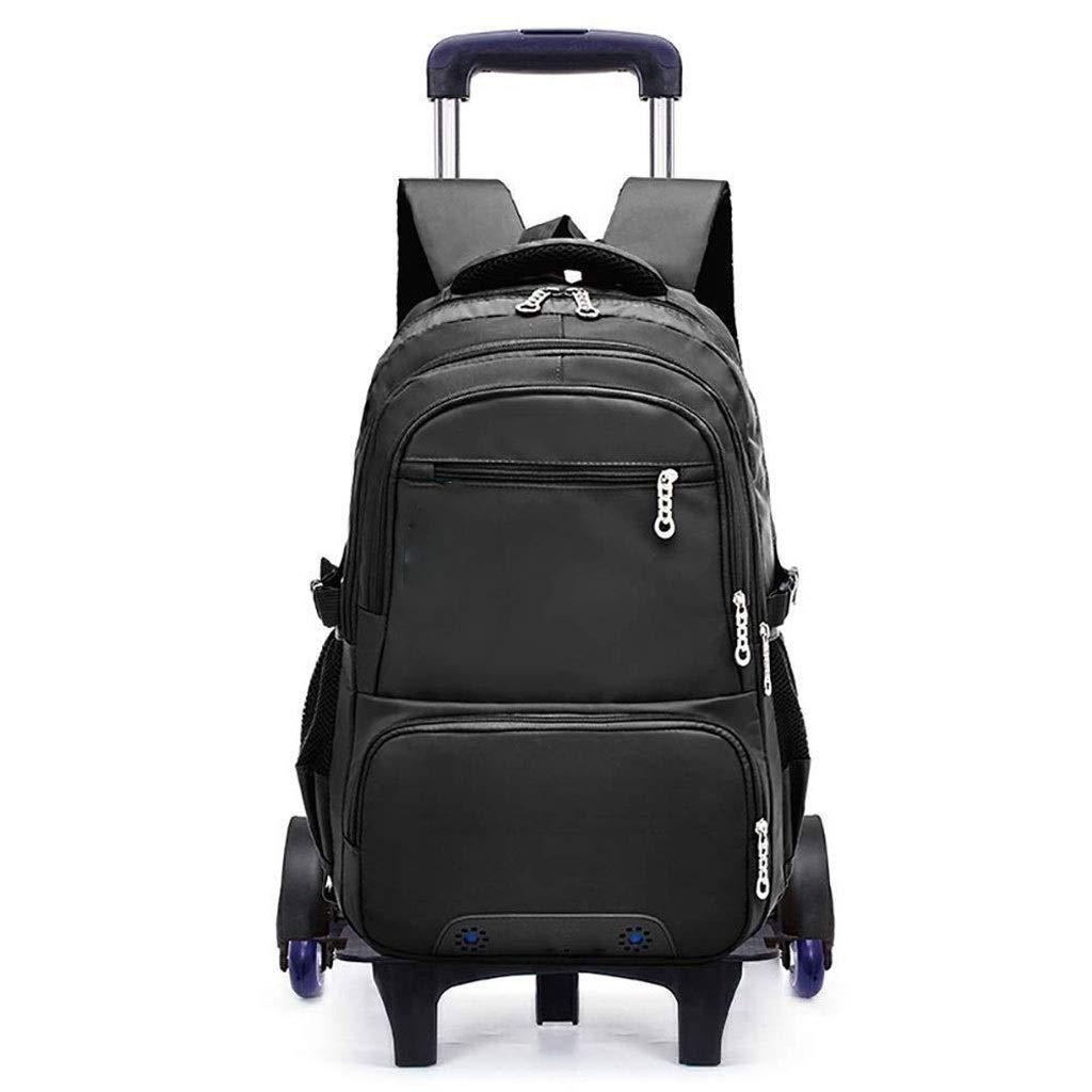 Kylincde 子供ローリングバックパック荷物6輪ユニセックストロリーランドセル (Color : Black) B07V7VFVKF Black