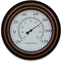 "8"" Decorative Indoor / Outdoor Patio Wall Thermometer (Bronze)"