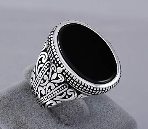 (925 Sterling Silver Ring for Men with Oval Black Onyx Stone Turkish Handmade Mens Jewelry Male Rings Size 8)
