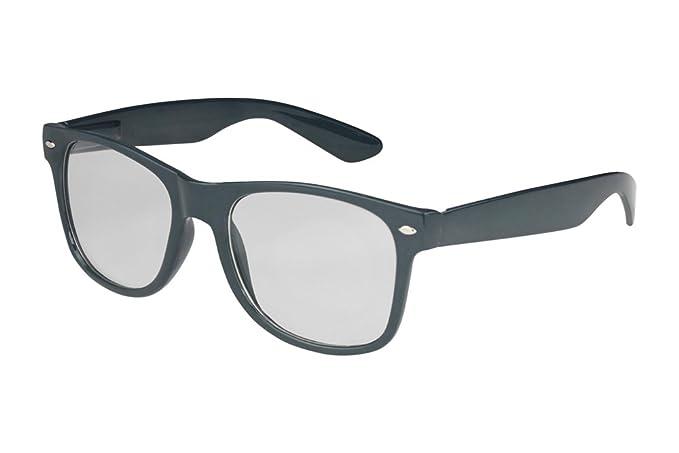Nerd Brille Nerdbrille Sonnenbrille Retro Streberbrille Set Herren Damen schwarz