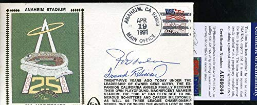 (ROD CAREW FRANK ROBINSON Autograph 1991 FDC Hand Signed Cache - PSA/DNA Certified - MLB Cut Signatures)