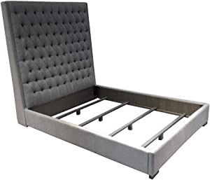 Coaster Home Furnishings Upholstered Bed, Grey/Dark Brown