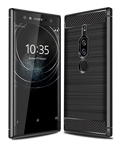 Sony Xperia XZ2 Premium Case with HD Screen Protector, Ucc Frosted Shield Luxury Slim TPU Bumper Cover Carbon Fiber Design and Anti-Scratch and Non-Slip Case Cover for Sony Xperia XZ2 Premium (Black)