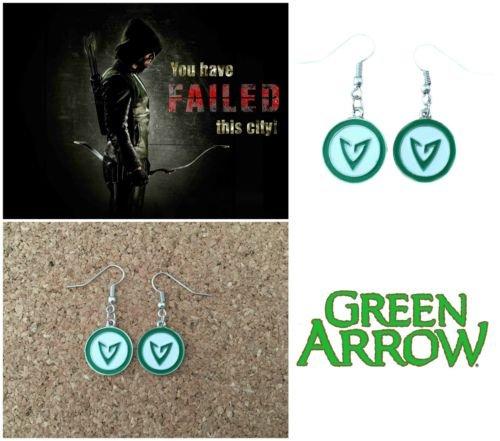 Superhero DC Green Arrow Logo Charm Dangle French Wire Earrings W/Gift Box by I.E.Y.online-store (Logo Team Earrings Wire)
