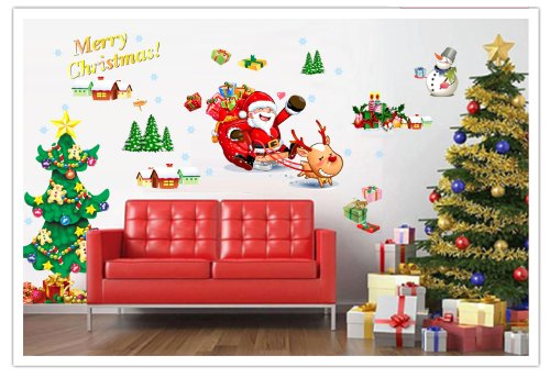mas - Santa Clause/Sleigh/Red-nosed Reindeer/Christmas Tree/Snowman/Gifts/Houses Peel & Stick Wall Decals (Red Santa Sleigh)