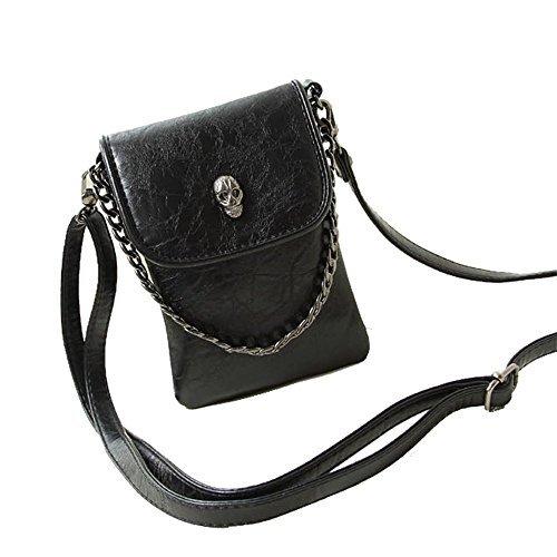 Studded Skull Gothic Mini Chain Crossbody Shoulder Bag Satchel Travel Leather Tote Handbag Purse