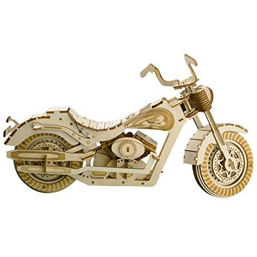 3D Wooden Puzzles Laser Engraving DIY Safe Assembly Constructor Kit Toy for Kids Teens and Adults (Motorcycle)