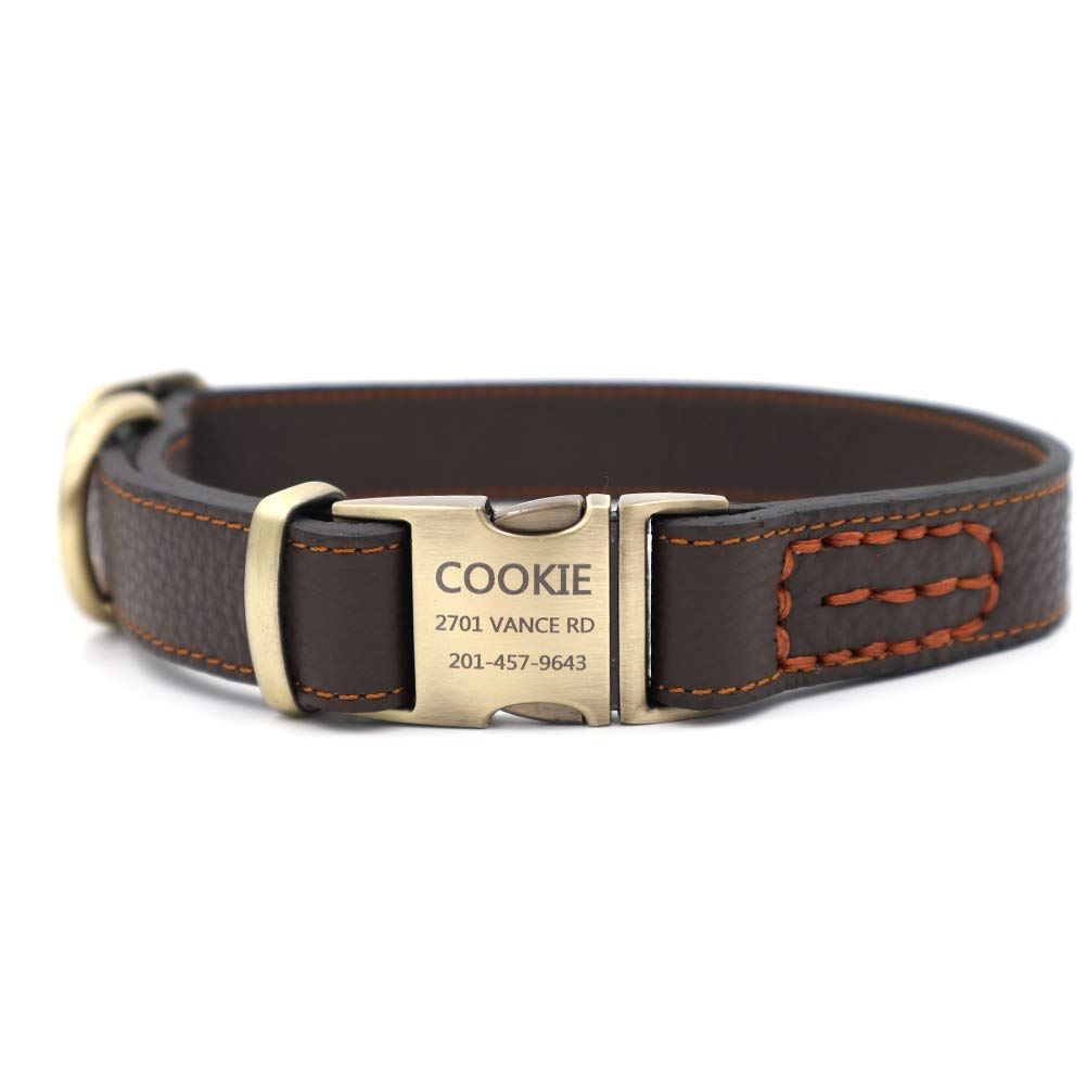 Youyixun Personalized Dog Collar, Customize Engraved Dog Collar with Name and Phone Number, Adjustable Genuine Leather Dog ID Collar-Brown,Medium by Youyixun