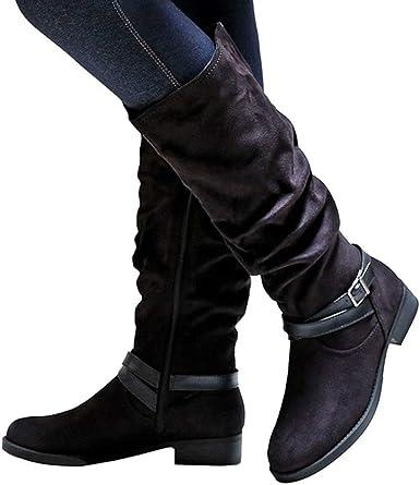 Nine Seven Womens Genuine Leather Round Toe Flat Heel Handmade Casual Side Zipper Buckle Strap Knee High Boots