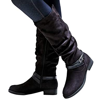 16bdcc85ca3a Amazon.com  Women s Wide Calf Slouchy Riding Boots Chunky Heel Zipper  Buckle Strap Casual Shoes  Clothing