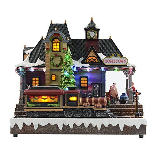 Fashionlite LED Christmas Village with Moving Train Music Box, 8 Xmas Songs (Xmas Train)
