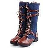 GUAngqi Women Zip up Knight Knee High Boots Winter Fashion Lace up Punk Martin Boot Knee Boots,Blue