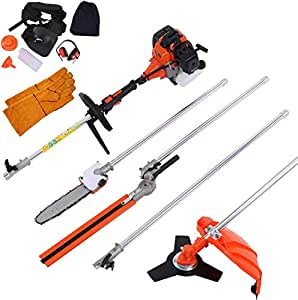DatingDay 52cc 5 in 1 Gas Petrol Hedge Trimmer Brush Cutter Chainsaw Multifunctional