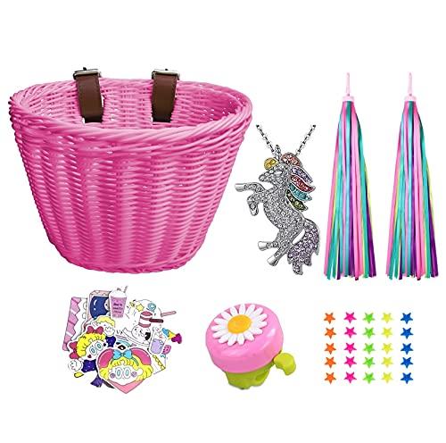 Heyworld Kids Bike Basket, Wicker Basket, Handlebar Bicycle Basket for Girls with Unicorn Necklace, Bike Bell, Streamers, Stickers Bike Decoration Accessories Set…