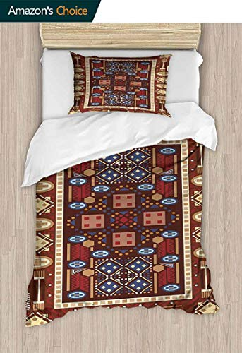 Afghan 2 Piece Quilt Coverlet Bedspread, Earthy Toned Middle Oriental Folklore Illustration of Shapes Composition, Bedding Set for Kids,Boys and Teens,47 W x 59 L Inches, Multicolor (Coverlet Afghan)