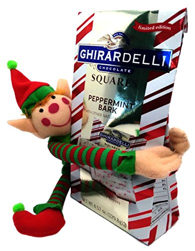 Holiday Gift Set Toy Elf and Ghirardelli Limited Edition Peppermint Bark Chocolate Bundle (Milk Chocolate)