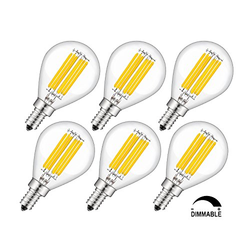 CRLight LED Globe Bulb 6W 3200K Soft White 700LM, 70W Equivalent E12 Candelabra Base Dimmable LED Filament Bulbs, G14(G45) Clear Glass Globe Shape, 360 Degrees Beam Angle, 6 Pack