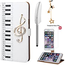 xhorizon FL1 DIY Piano Wallet Cover Full-body Protective Case for iPhone 6 Plus / iPhone 6S Plus + A Feather Style Stylus + A Stars Dust-plug + A Small XHORIZON Cleaning Cloth + 9H Tempered Glass Film