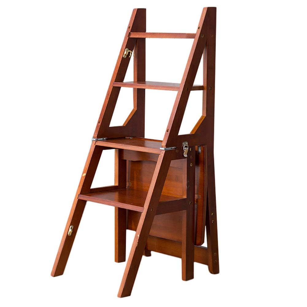 Dark Brown step stool Portable Ladder Stool 4 Easy to Store Foldable Design Ideal for Home Kitchen Garage (color   Wood color)