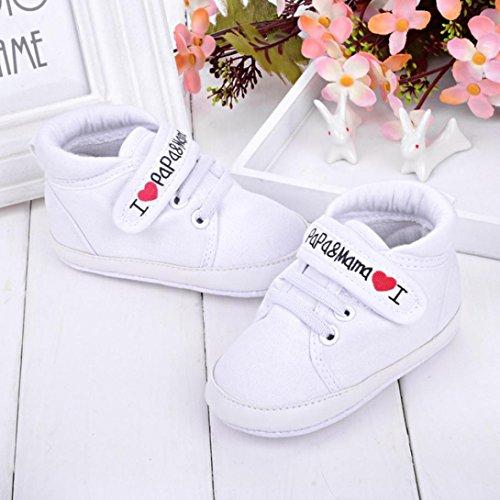 Ularmo Schuhe für 0-18 Monate Baby, Weiche Sohle Kleinkind-Schuhe Segeltuch-Turnschuh (12cm(6-12 Monate), Weiß)