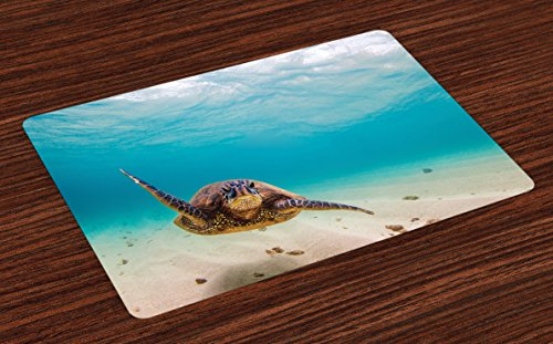 (Lunarable Hawaiian Place Mats Set of 4, Underwater Scuba Diving Sea Turtle Nature Animal Swimming Wildlife Theme, Washable Fabric Placemats for Dining Room Kitchen Table Decor, Beige Brown)