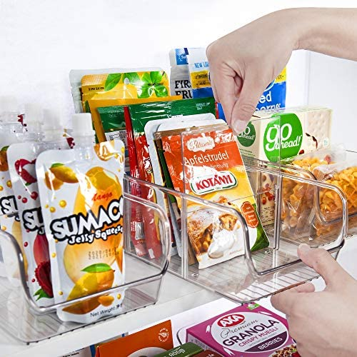 YIHONG Plastic Food Packet Organizer Bins, 4 Pack Clear Storage Bins for Pantry,Refrigerator, Cabinet Organization,Ideal for Storing Seasoning Packets, Spices, Sauce Packets,Snacks, 3 Divided Sections