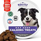 MAX Calming Treats for Dogs – with Hemp Oil & Melatonin. Pet Anxiety & Stress Relief Chews + Thiamine & Chamomile! Behavioral Aid Bites for Composure, Separation, Chewing, Barking, Thunder Storms.