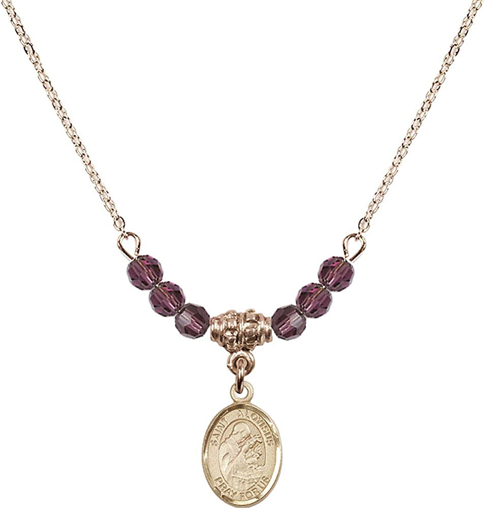 18-Inch Hamilton Gold Plated Necklace with 4mm Amethyst Birthstone Beads and Gold Filled Saint Aloysius Gonzaga Charm.