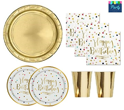 Gold Birthday Party Supplies Serves 16 Guests Confetti Polka Dots With Gold Foil Stamped Plates & Napkins/Gold Shiny Plates & Cups