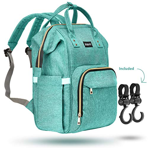 Zuzuro Diaper Bag Baby Bag – Waterproof Backpack w/Large Capacity & Multiple Pockets for Organization. Ideal for Travel Nappy Bags – W/Insulated Bottle Pocket. 2 Stroller Hooks Incl. (Turquoise)