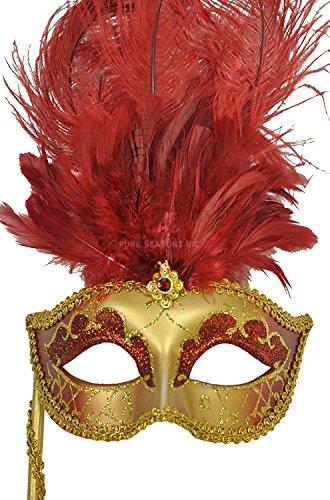 Pure Seasons Colombina Vanity Fair Venetian Mask (Deep (Venetian Mask With Gold Trim)