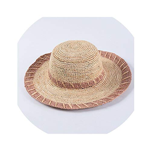 Women Raffia Sun Hats Hand-Crocheted Striped Straw Hats Large Brim Hat,Lavender,56-58Cm