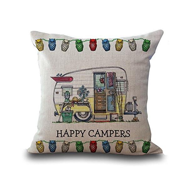 """512622H8k5L Hengjiang Baumwollleinen-Kissenbezug, 45cm x 45 cm, mit Cartoon-Wohnwagen-Motiv und Aufschrift """"Happy Campers"""" (in engl. Sprache), Kissenhülle für Sofa-/Dekorkissen 01"""