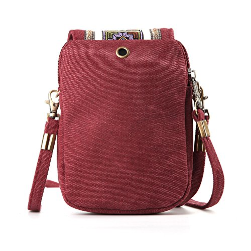Basic Red Cell Girls Coin Canvas for A001 Bag Wire Goodhan Pouch phone Crossbody Women Purse Size Embroidery a6qFIFH4