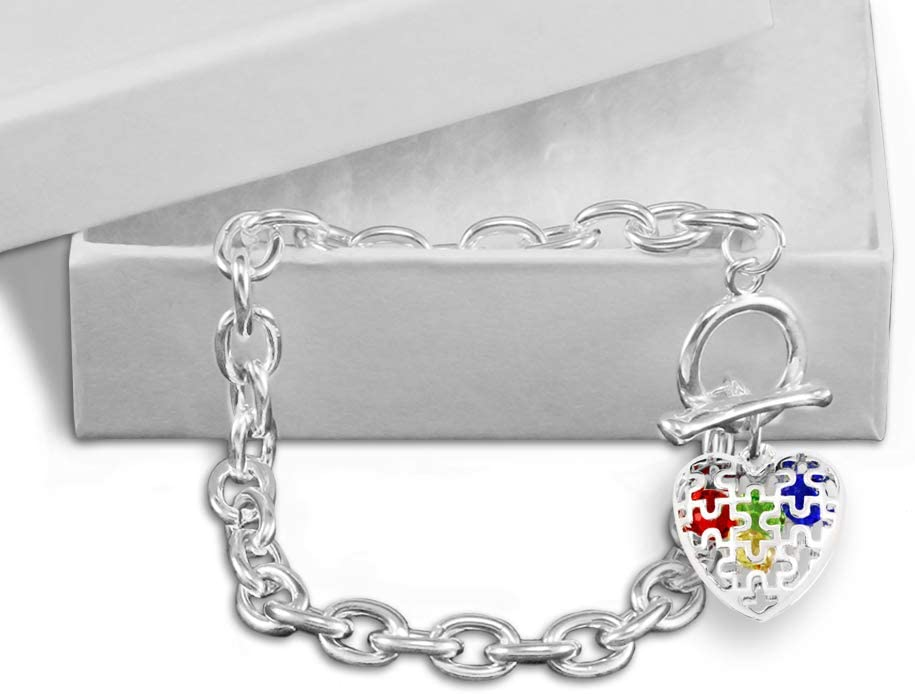 Autism Colored Puzzle Heart Chunky Charm Bracelet in a Gift Box 1 Bracelet - Retail