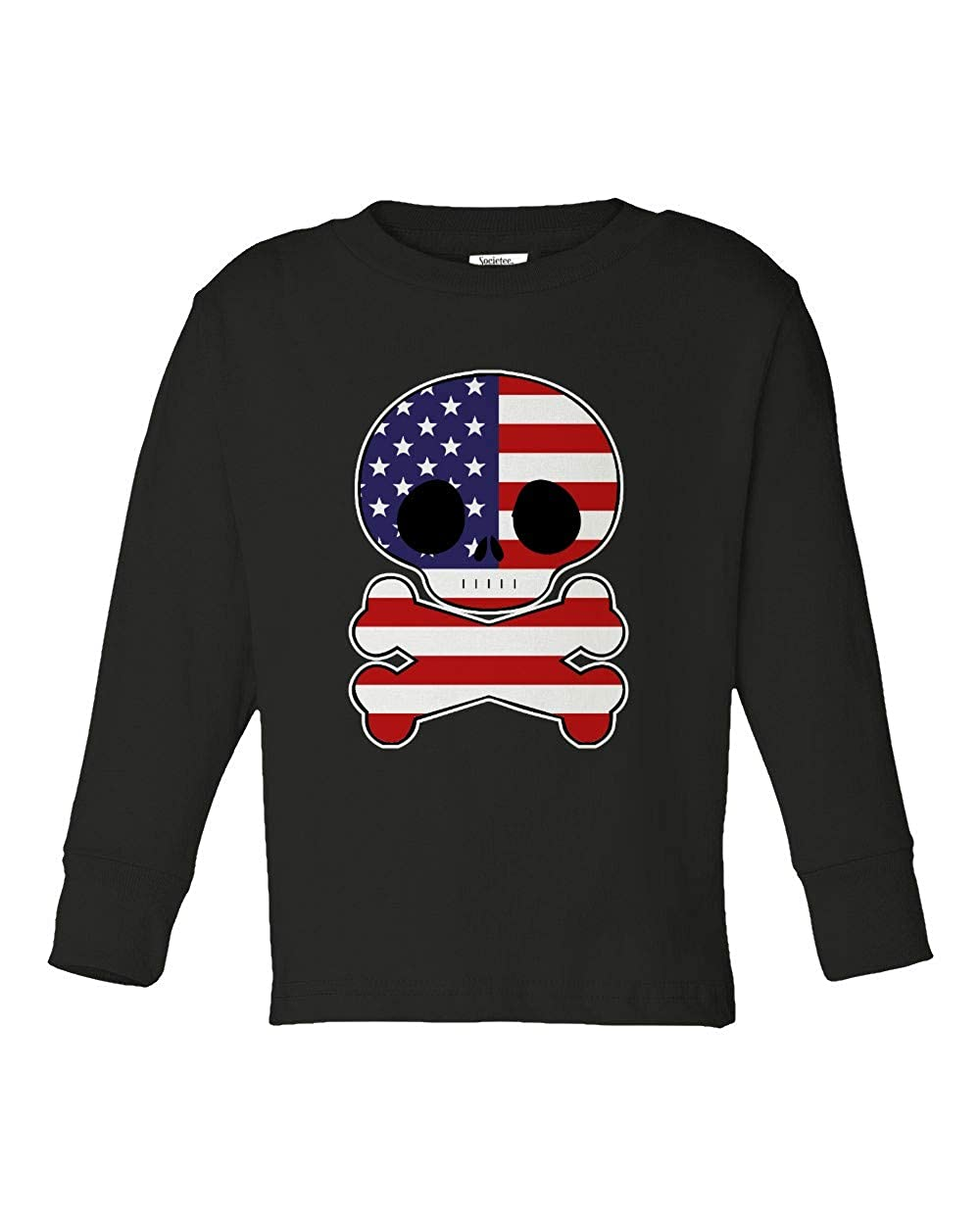 Societee American Flag Skull Cool Girls Boys Toddler Long Sleeve T-Shirt