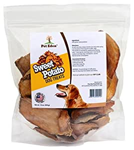 Sweet Potato Dog Treats Made in USA Only by Pet Eden, Best Grain Free Natural Healthy Chews for Dogs, 1 lb, Free of Fillers, No Additives, No Preservatives, Premium Quality Gourmet Snacks for All Dogs