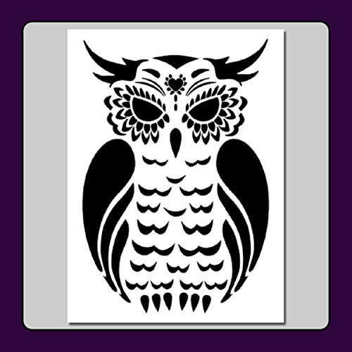 Sugar Skull OWL Stencil Template Day of The Dead/Halloween/Animal/Bird by The Craftee Dragon (Large 9 X 12 inch (Image Dimensions 7 1/2 X 11))]()
