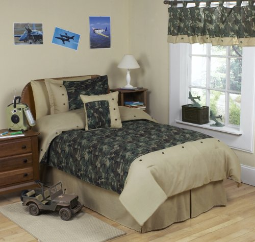 Sweet Jojo Designs 3-Piece Green Camo Children's and Teen Full/Queen Boys Bedding Set