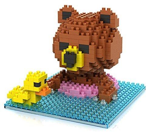 Little Treasures Loz diamond blocks brown bear swimming with a duck - I-block fun Mini Building Brick Set children's educational toy 280pcs new in original box -  9428 a