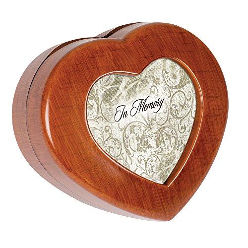 Cottage Garden in Memory Filigree Woodgrain Mini Heart Music Box Plays Amazing - Walnut Music