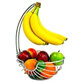 Superiore Livello Chrome Fruit Basket with Banana Hanger, Elegant and...