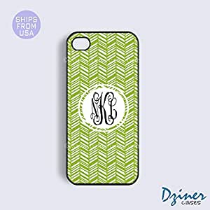 Personalized Your Initials iPhone 6 Case - 4.7 inch model - Green Herringbone iPhone Cover