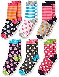 Girls' Little Girls' Dots/Hearts/Stripes Fashion Crew socks 6 Pairs Pack