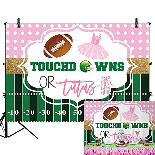 - Allenjoy 7X5ft Touchdowns or Tutus Gender Reveal Backdrop Boy or Girl He or She Pink or Blue Prince or Princess Baby Shower Photography Background Cake Table Banner Decorations Photo Booth Props