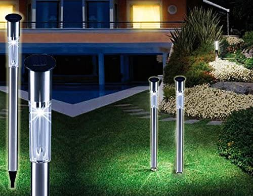 Set 2 faroles solares de jardín 1 LED y 70CM de largo iluminación ...