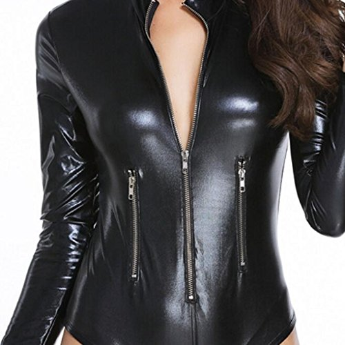 Ularma Blusa de mujer, imitación cuero, vestido de lugar de entretenimiento de noche de una sola pieza negro
